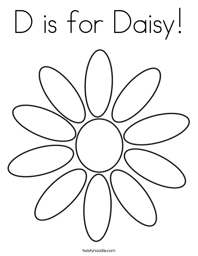 D is for Daisy Coloring Page Twisty Noodle