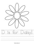 D is for Daisy Handwriting Sheet