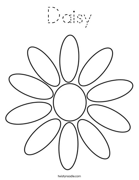 Daisy coloring page tracing twisty noodle for Daisy petal coloring page