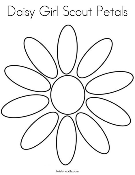Daisy Girl Scout Petals Coloring Page - Twisty Noodle