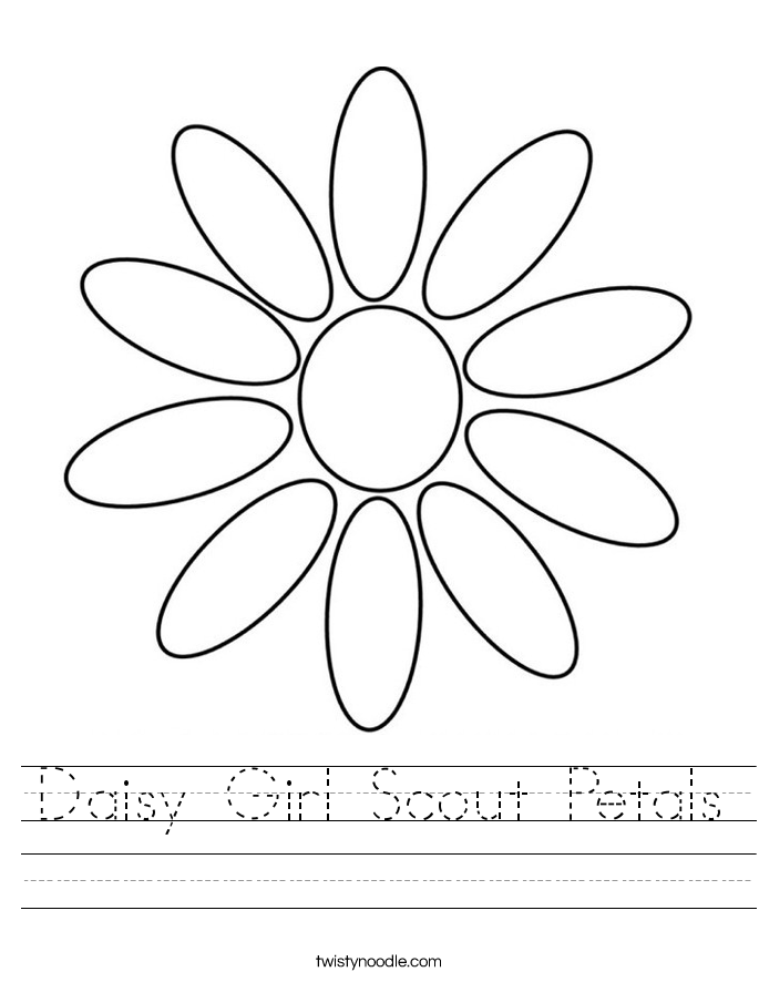 Daisy Girl Scout Petals Worksheet