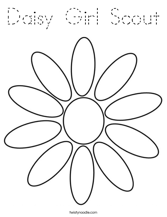 Daisy girl scout coloring page tracing twisty noodle for Daisy girl scout coloring pages printable