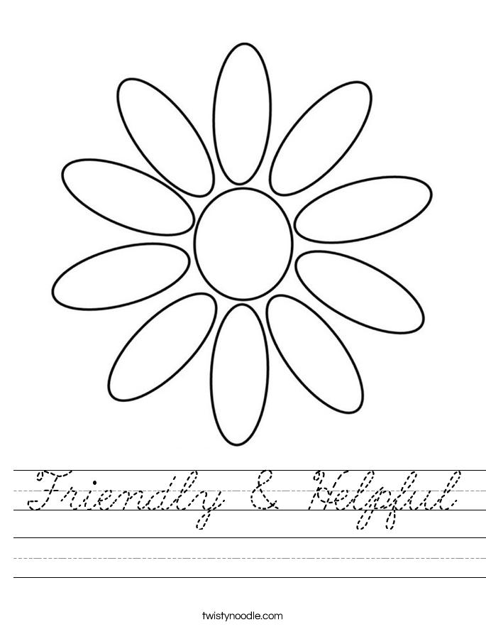 Friendly & Helpful Worksheet