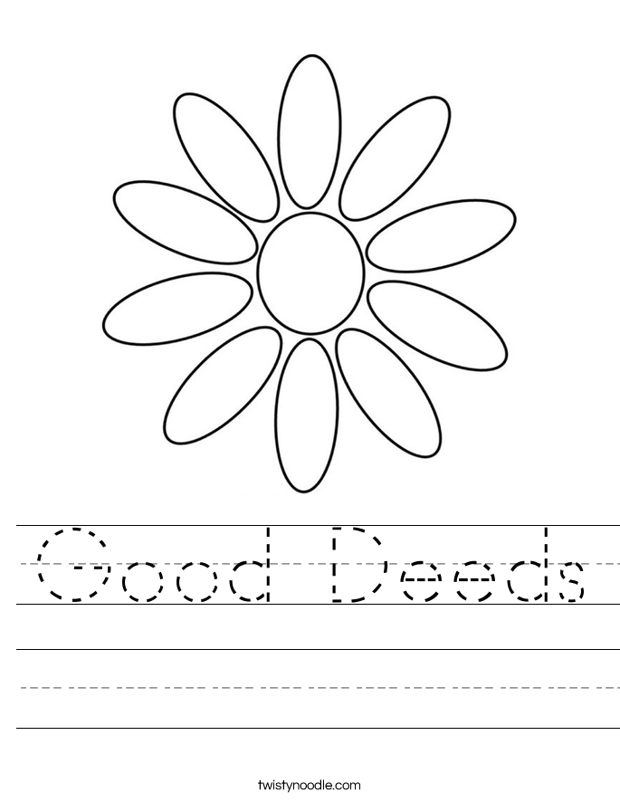 Good Deeds Worksheet