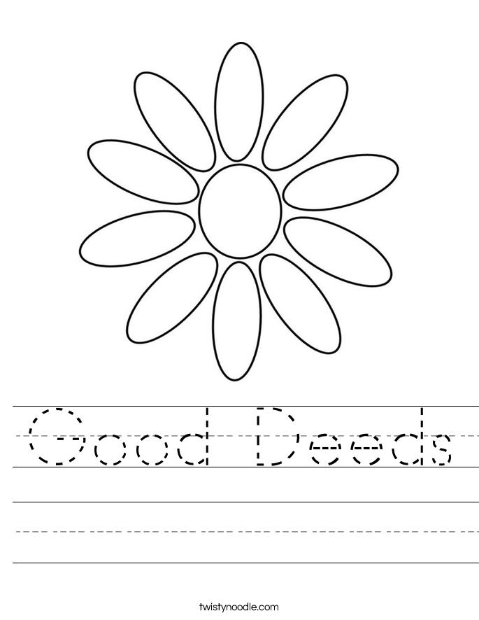 Good Deeds Worksheet