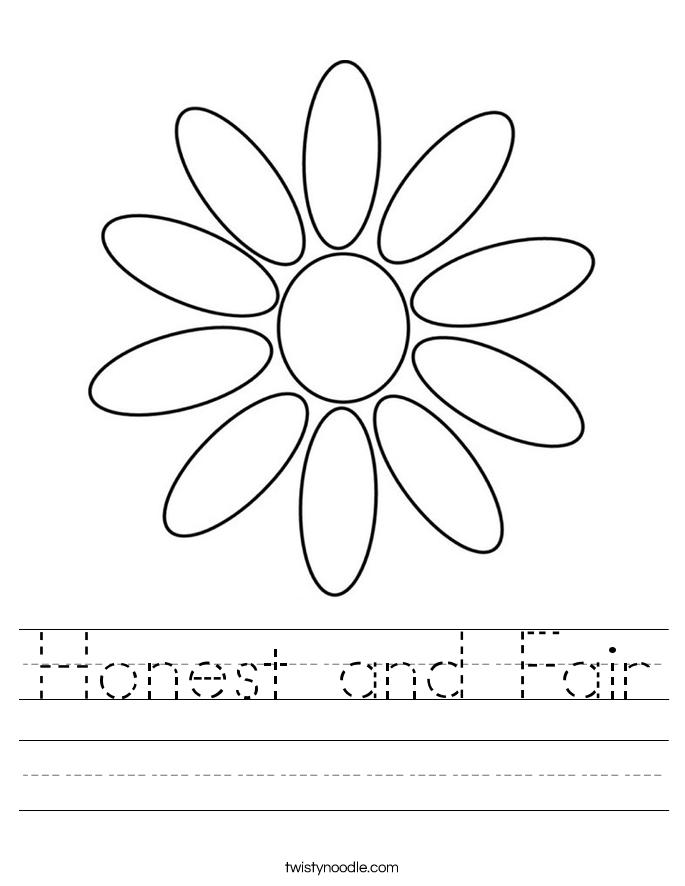 Honest and Fair Worksheet