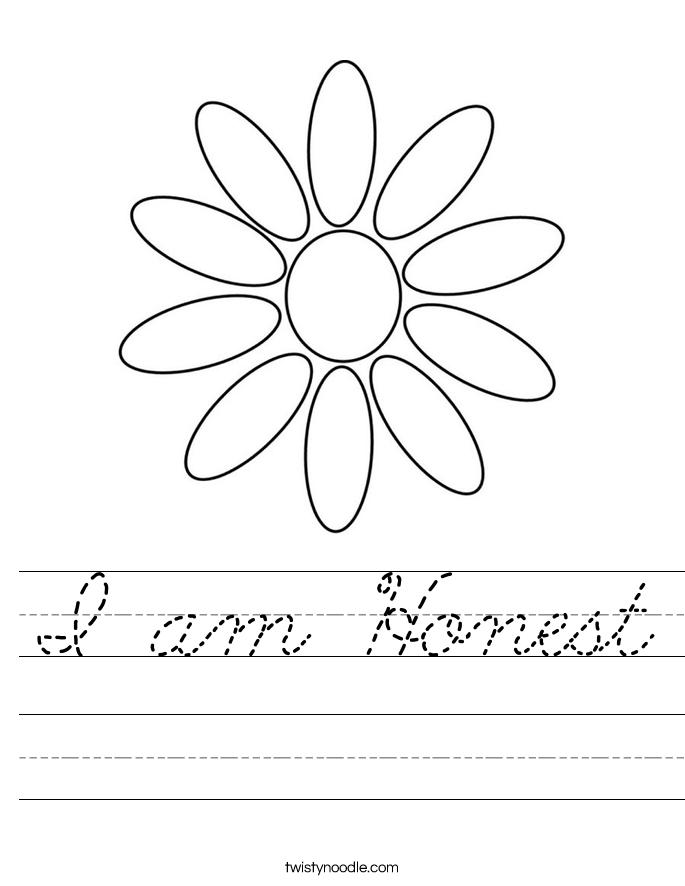 I am Honest Worksheet