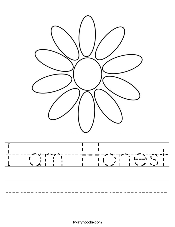 I am Honest Worksheet