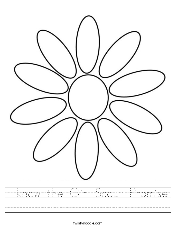 I know the Girl Scout Promise Worksheet