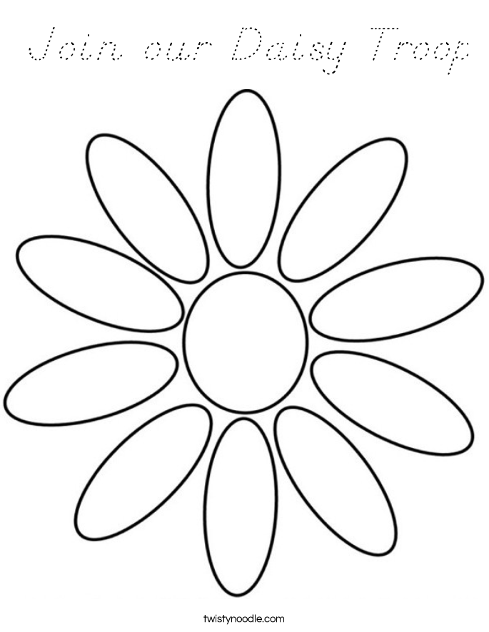 Join our Daisy Troop Coloring Page - D'Nealian - Twisty Noodle
