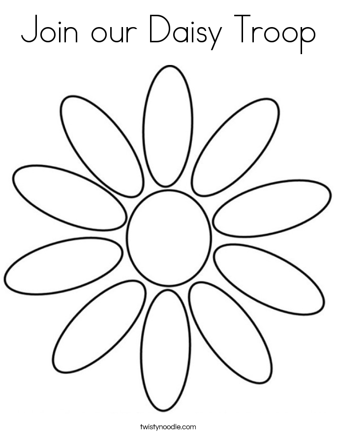 Join our Daisy Troop Coloring Page