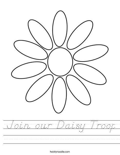 Join our Daisy Troop Worksheet - D'Nealian - Twisty Noodle