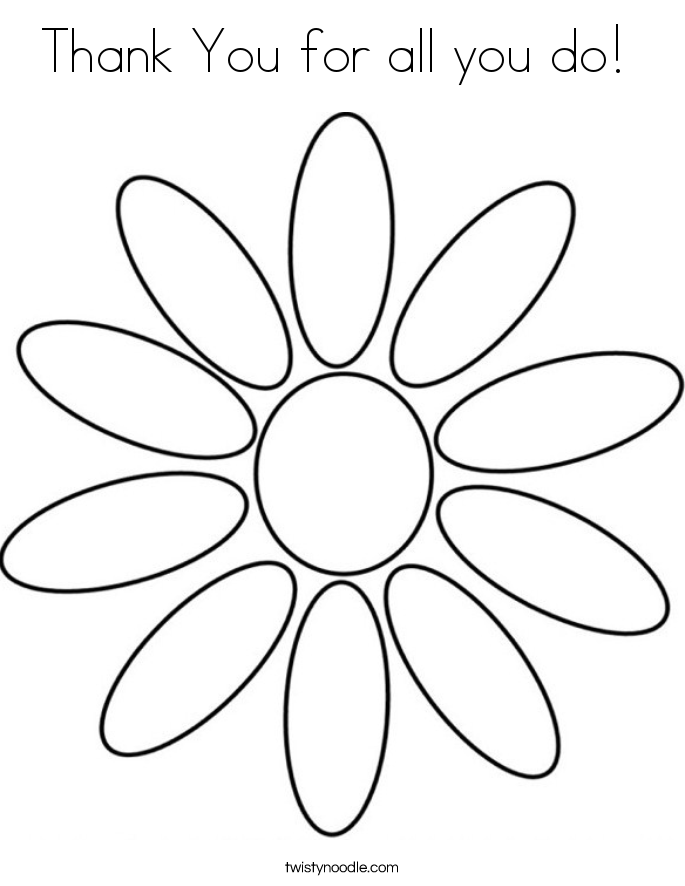 Thank You for all you do!  Coloring Page