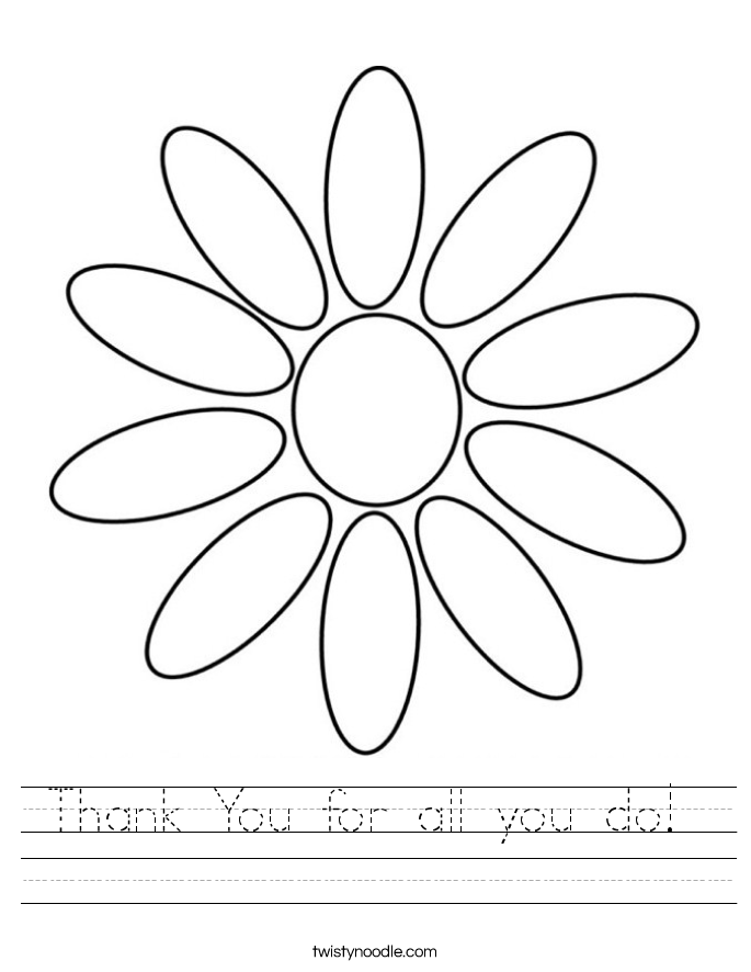 Thank You for all you do!  Worksheet