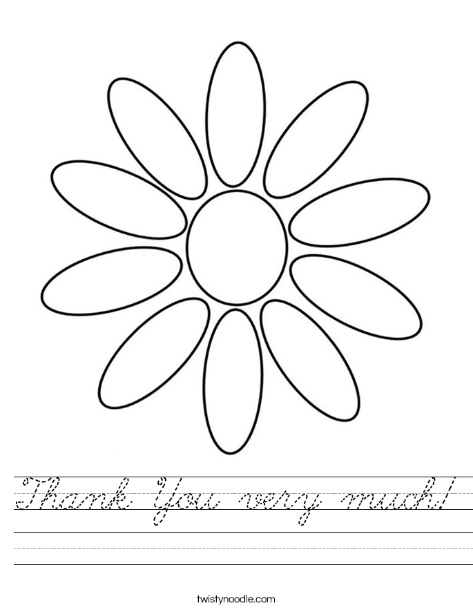 Thank You very much! Worksheet