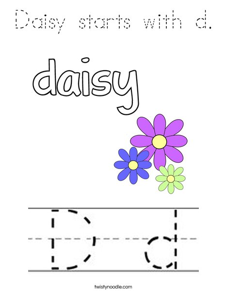 Daisy starts with d Coloring Page - Tracing - Twisty Noodle