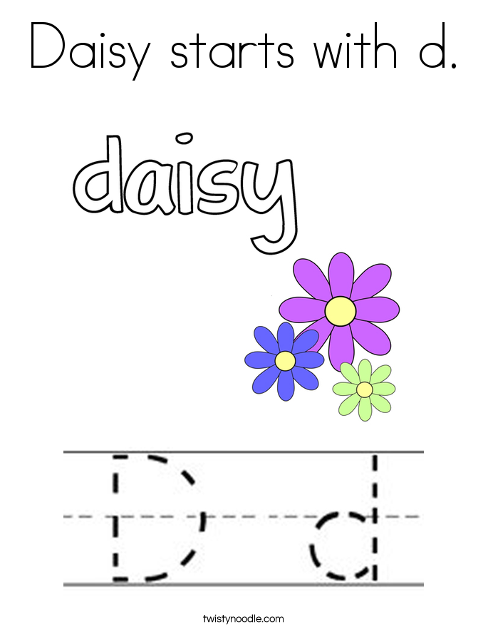 Daisy starts with d. Coloring Page