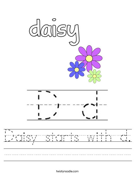Daisy starts with d. Worksheet
