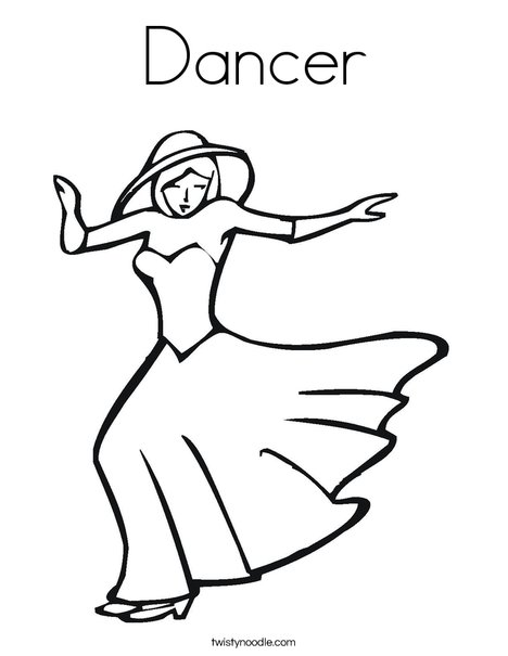 Dancer with Hat Coloring Page