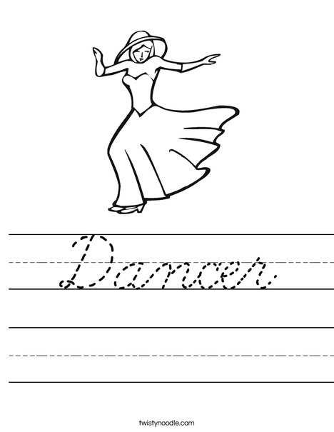 Dancer with Hat Worksheet