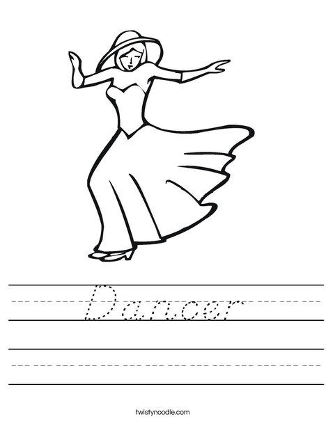 Dancer with Hat Worksheet