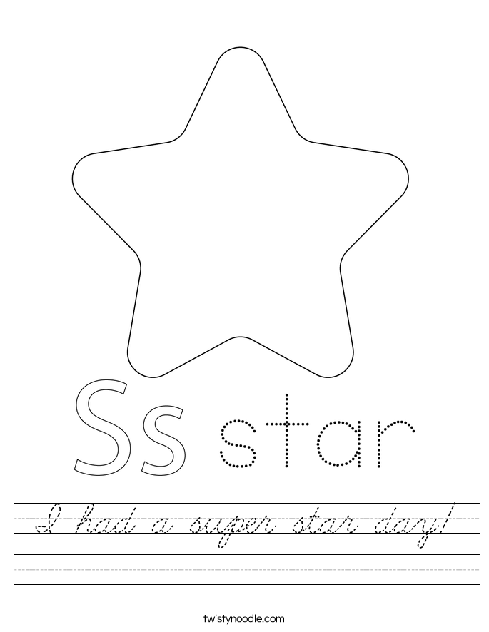 I had a super star day! Worksheet