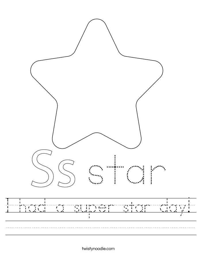 I had a super star day! Worksheet