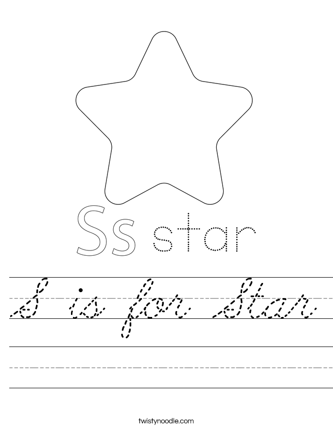 S is for Star Worksheet