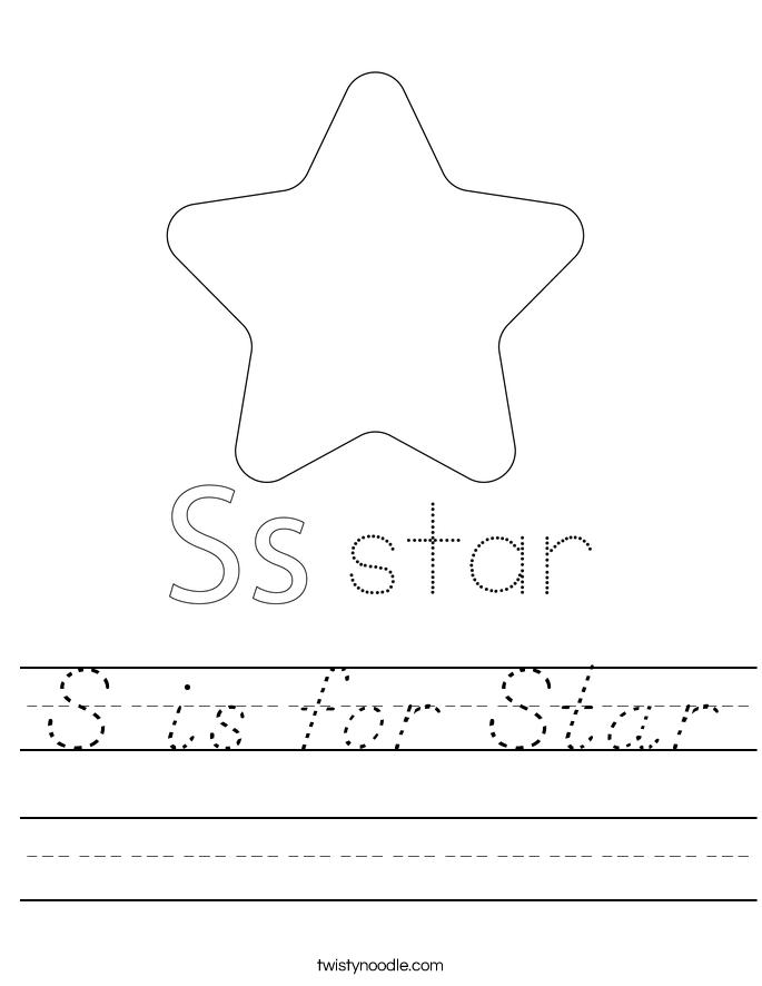 S is for Star Worksheet - D'Nealian - Twisty Noodle