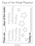 Days of the Week Placemat Coloring Page