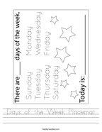 Days of the Week Placemat Handwriting Sheet