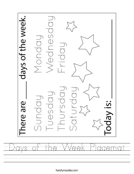 Days of the Week Placemat Worksheet