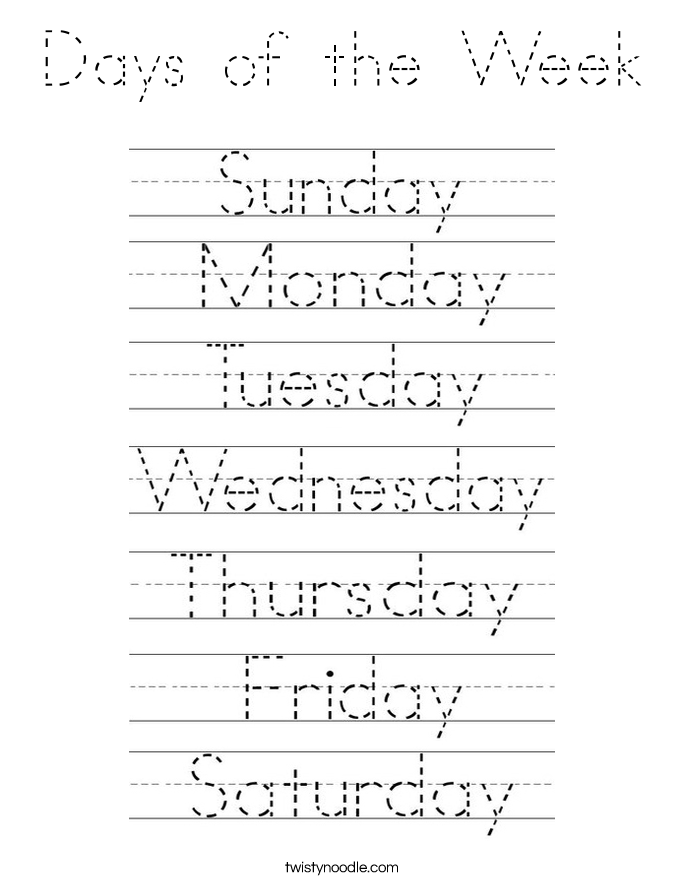+Days+Of+Week Tracing Pages Days Of Week http://twistynoodle.com/days ...