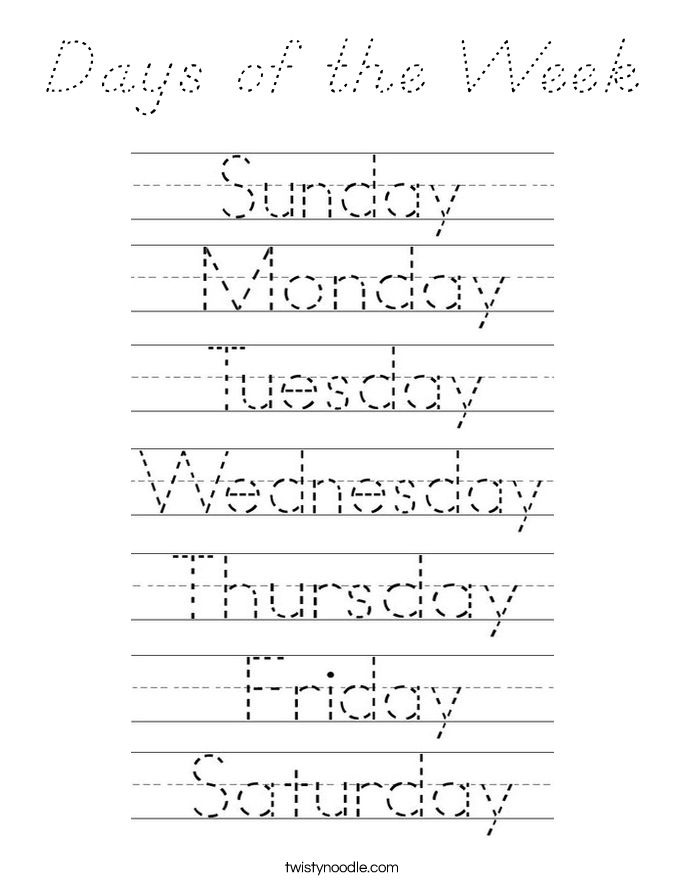 Days of the Week Coloring Page