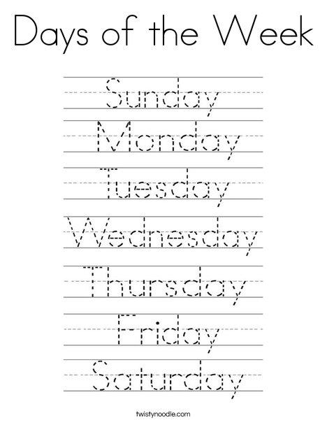 Days of the Week Handwriting Worksheet | All Kids Network