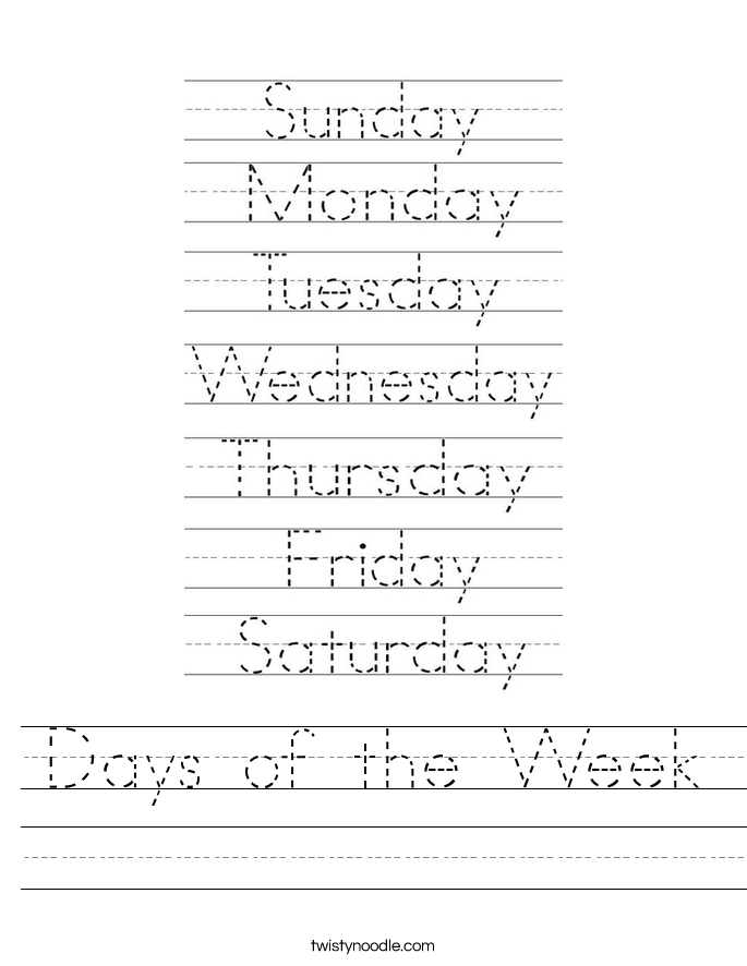 math worksheet : days of the week worksheet  twisty noodle : Kindergarten Days Of The Week Worksheets