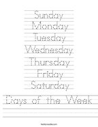 Days of the Week Handwriting Sheet