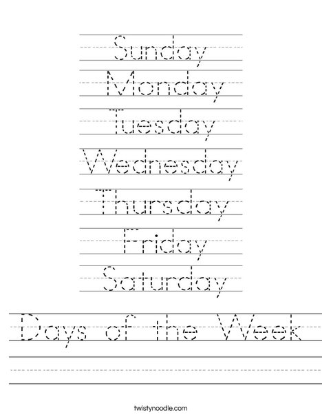 Days Of The Week Worksheet - Twisty Noodle