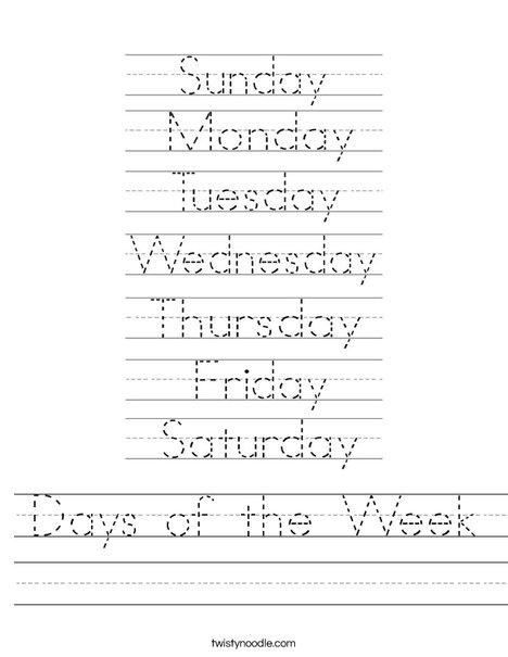 Days of the Week - Worksheet / FREE Printable Worksheets ...