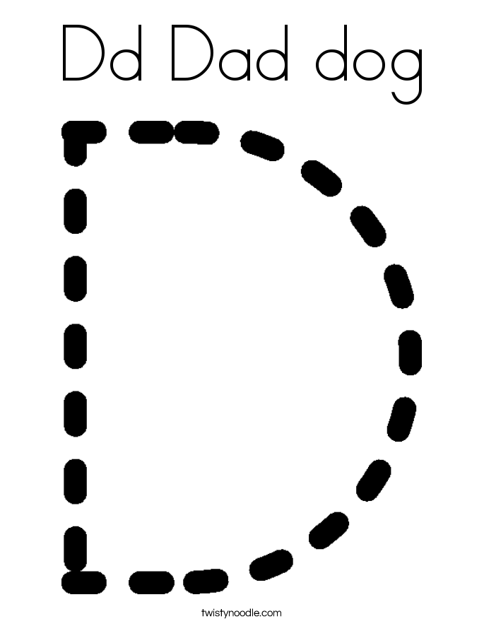 Dd Dad Dog Coloring Page