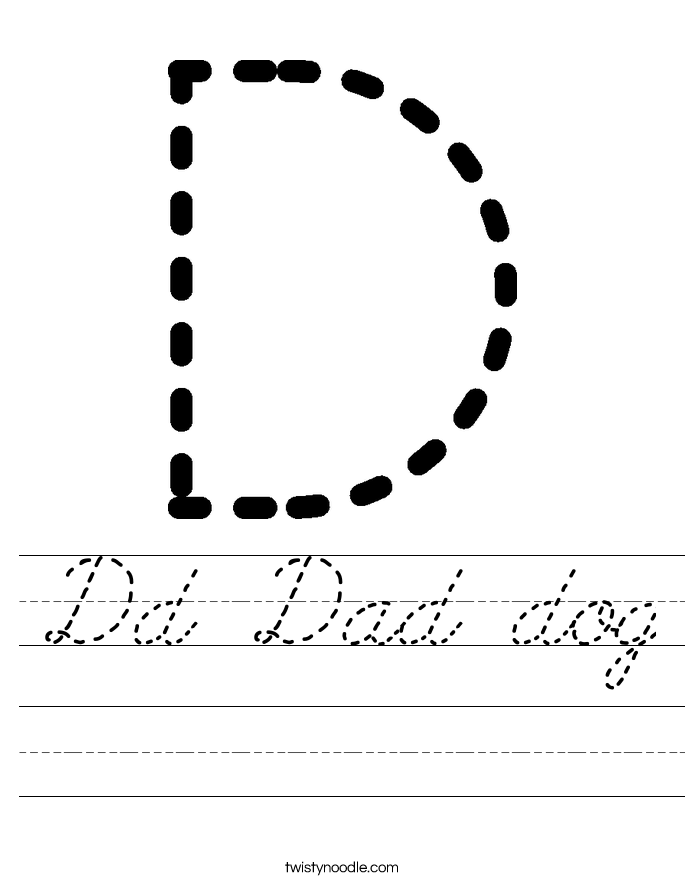 Dd Dad dog Worksheet - Cursive - Twisty Noodle