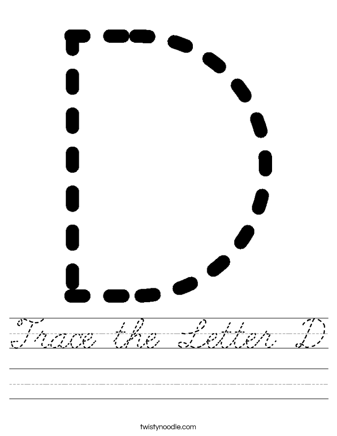 Trace the Letter D Worksheet