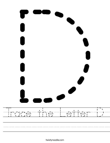 Trace The Letter D Worksheet Twisty Noodle