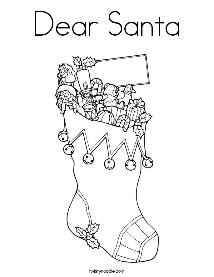 Dear Santa Coloring Page  Twisty Noodle