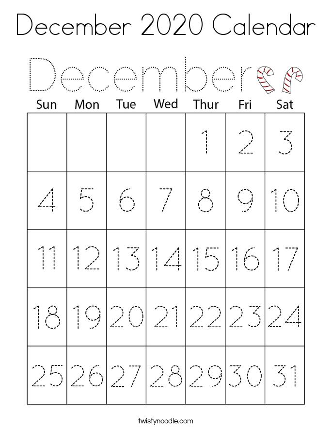 December 2020 Calendar Coloring Page