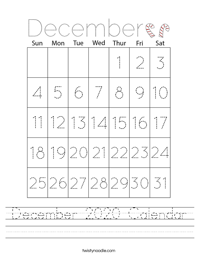 December 2020 Calendar Worksheet