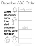 December ABC Order Coloring Page