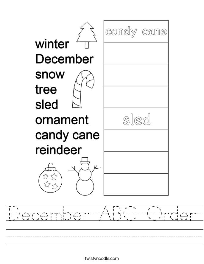 December ABC Order Worksheet
