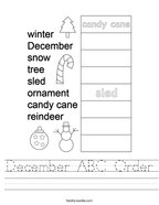 December ABC Order Handwriting Sheet