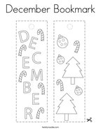 December Bookmark Coloring Page